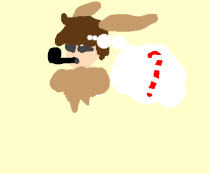 Human eevee smoking pipe wishes for candy cane
