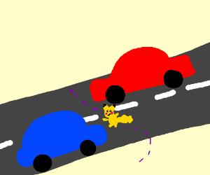 Pikachu plays frogger