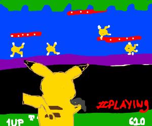 Pikachu playing Frogger.