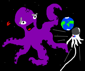 purple octopus that forgot his space suit