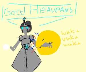 Pac-man eats a medieval queenbot