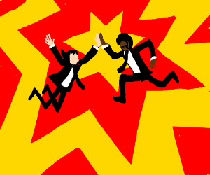 Pulp fiction's guys doing a high five