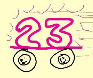 Neon 23 Sign on Wheels