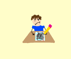 Kid scribbling on his test