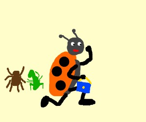 Lady steals bug's stuff, bug is arguing