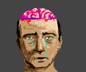 Guy cries w/ top of head cut off, brain shows drawing by ...