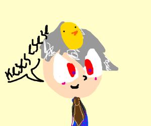 Deranged weirdo wears a tinfoil bird's nest hat