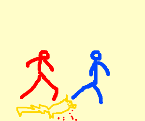 a red man and a blue man kill pikachu