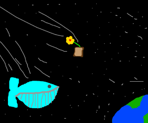 Whale and Flower pot fall in space