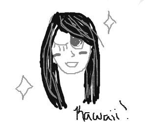 anime lady w/long black hair winks at you