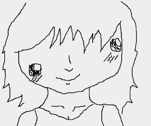 Kawaii animu girl with off-center eyes