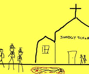 On Sunday, children watch a man bleed to death