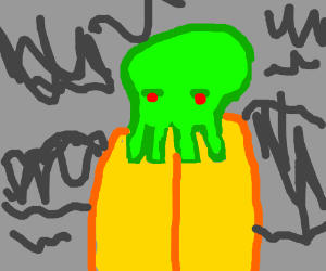 Yellow robed Cthulhu in the mysts of R'lyeh