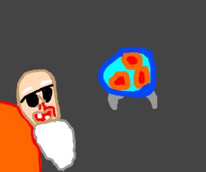 Metroid alien makes Roshi's nose bleed.