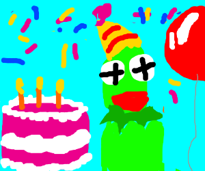 Kermit the Frog secretly eats bacon - Drawception
