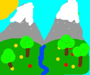 landscape. Far mountains +snow caps, blue sky
