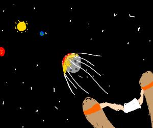 meteor slingshot aimed at the solar system