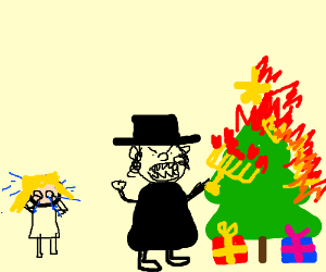 The Jews ruin Christmas again! (drawing by lalochezia)
