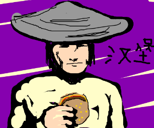 chinese guy with an hamburger