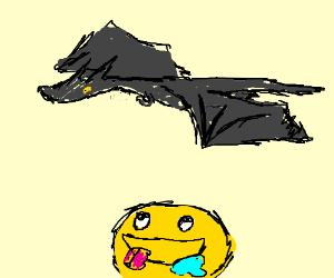 A dark dragon flies over a hungry smiley face