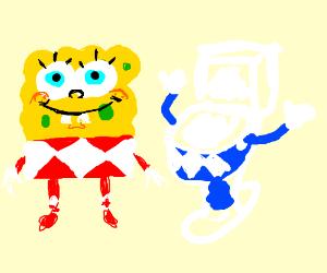 Spongebob and toilet become power rangers