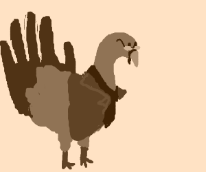 A business-turkey with a hand for a tail.