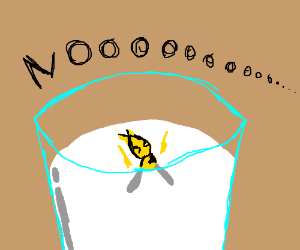 Wasp slowly drowning in milk