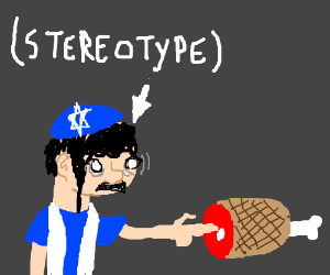 A Jew touches ham