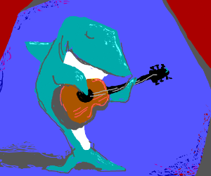 shark playing the guitar