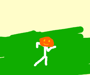 Dancing white man w/ pumpkin