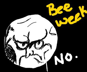 Grumpy meme refuses to participate in beeweek