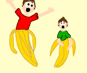 Father and son in bananas