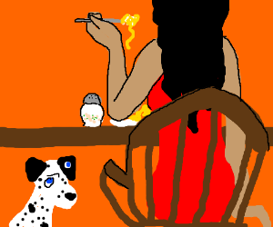 Dog wants spaggethi Also one eye is on the ear