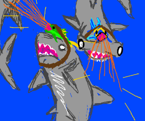 Sharks with freakin lazer fish on their heads