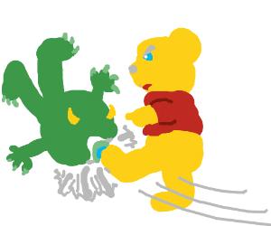 Winnie da Pooh kicked Mike Wazowski in the eye