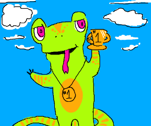 That neon colored lizard is number one