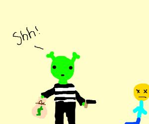 Shrek robbing a bank