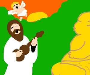 Jesus and a cherub serenade Buddha