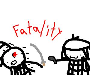 Two samurai fight