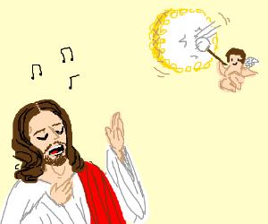 Jesus sings to cherubs drumming.