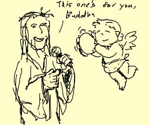 Jesus sings while cherub hits tamborine