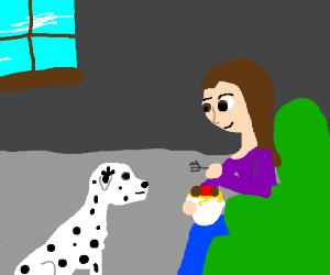 Dalmatian watches (female) owner eat noodles