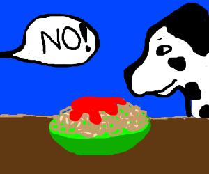 No Mr. Dalmatian. You can't have my spaghetti.