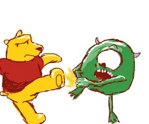 Pooh kicks Mike Wazowski in the shin
