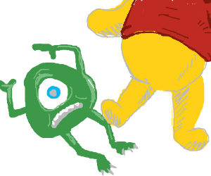 Winnie the Pooh kicks Mike Wazowski's leg