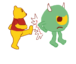 Winnie the Pooh kicks Mike from monsters inc.