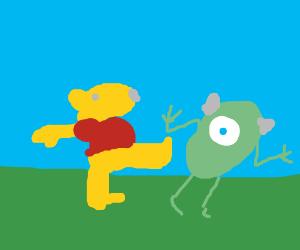 Winnie the Pooh kicks Mike Wisowski