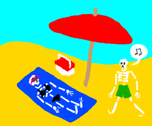 Skeleton shows off her beach body