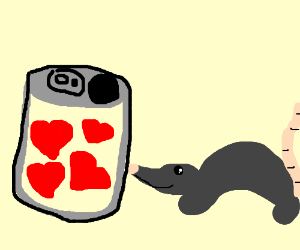 A rat with a can of hearts.