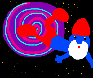 Papa Smurf opens a wormhole in space.